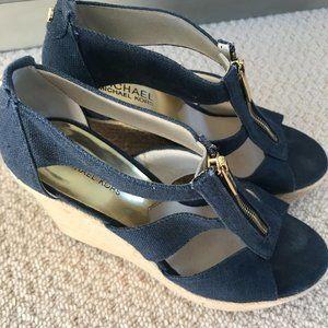 Michael Kors Blue Wedge Sandals Never Worn